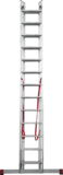 Three-section professional aluminium rung ladder NV 3230