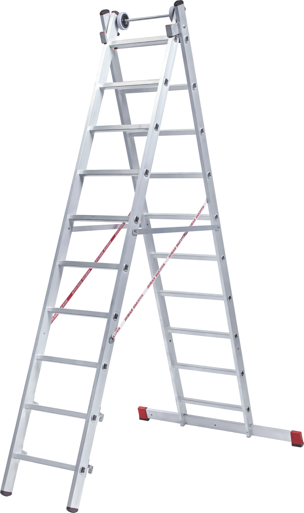 Two-section aluminium rung ladder for industrial use NV 522