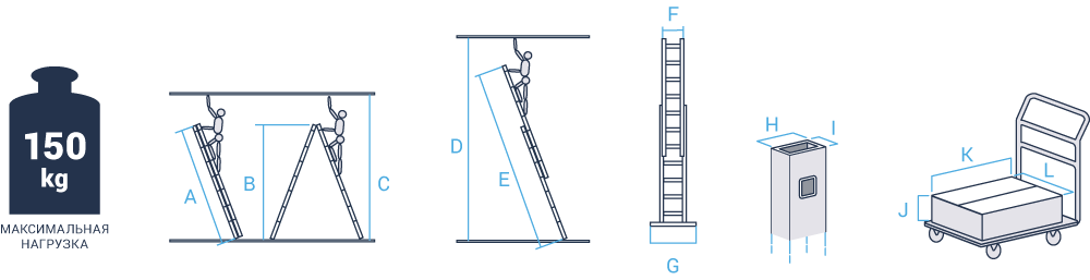 Schema: Two-section professional aluminium rung ladder NV 322