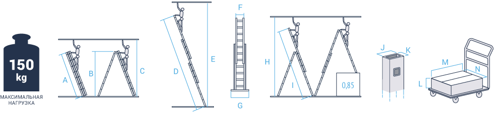 Schema: Three-section aluminium rung ladder for industrial use NV 523