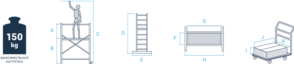 Схема: Дополнительный комплект NV1420для вышки-туры NV1410