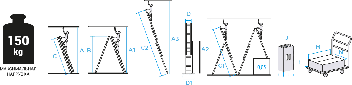 Schema: Three-section aluminium rung ladder NV 1230 sku 1230311