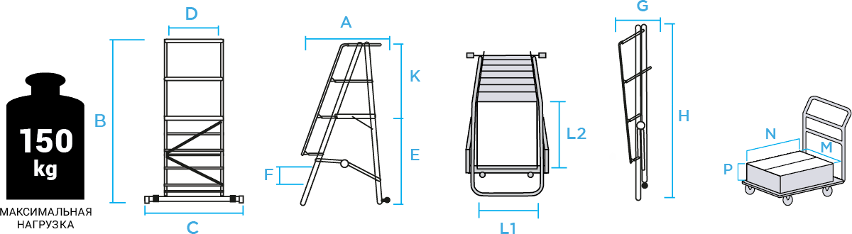 Schema: Mobile ladder with platform NV 3541 sku 3541111