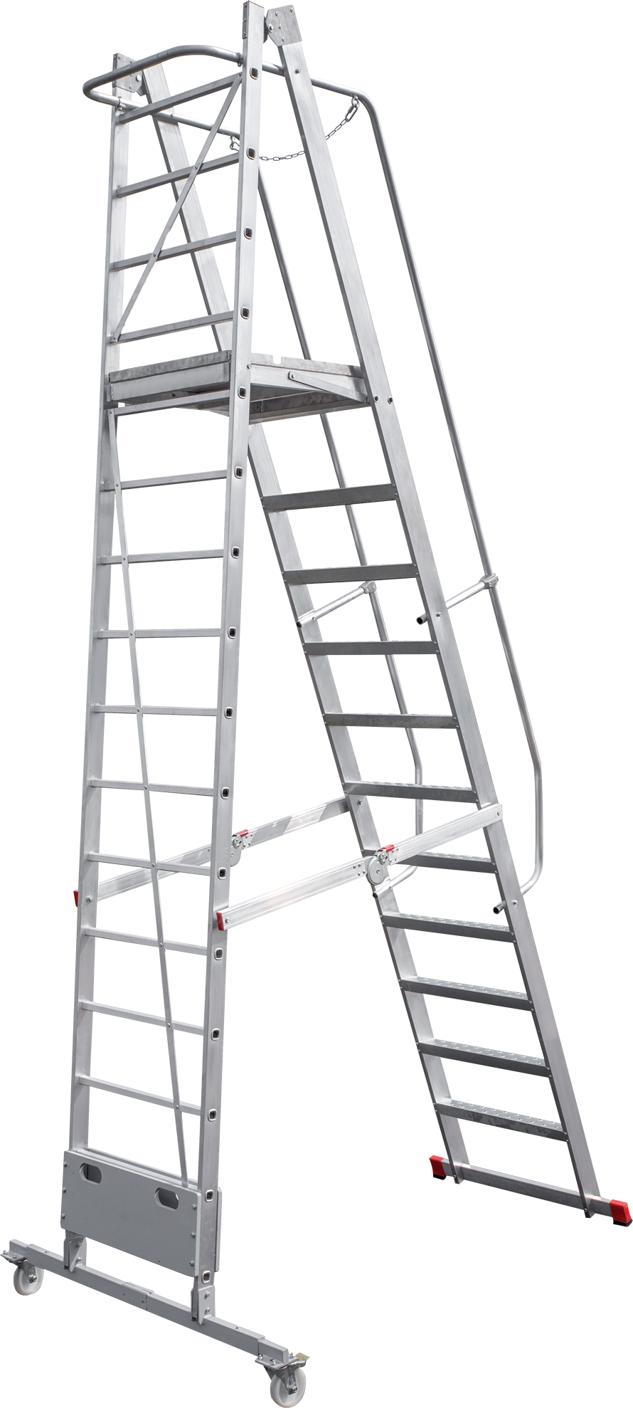 Folding mobile ladder with platform NV 8000012