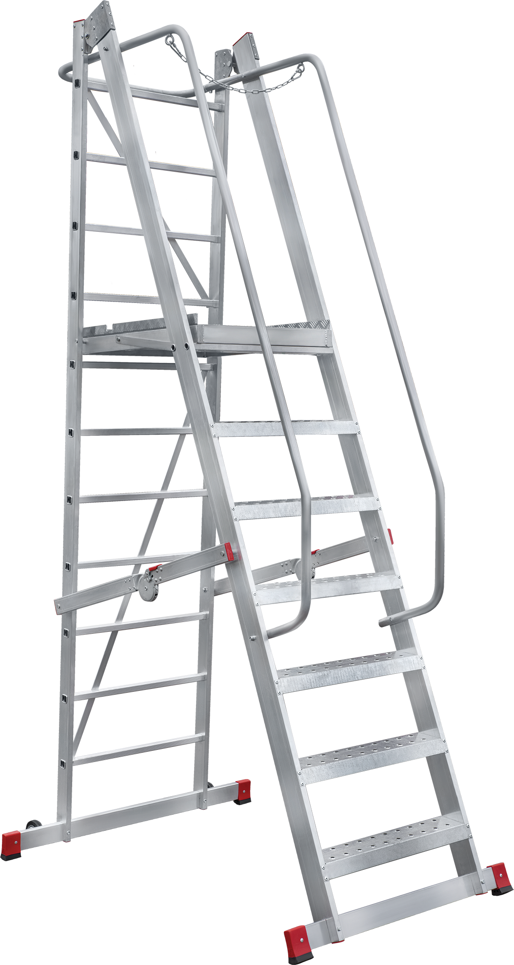 Folding mobile ladder with platform NV 8000044