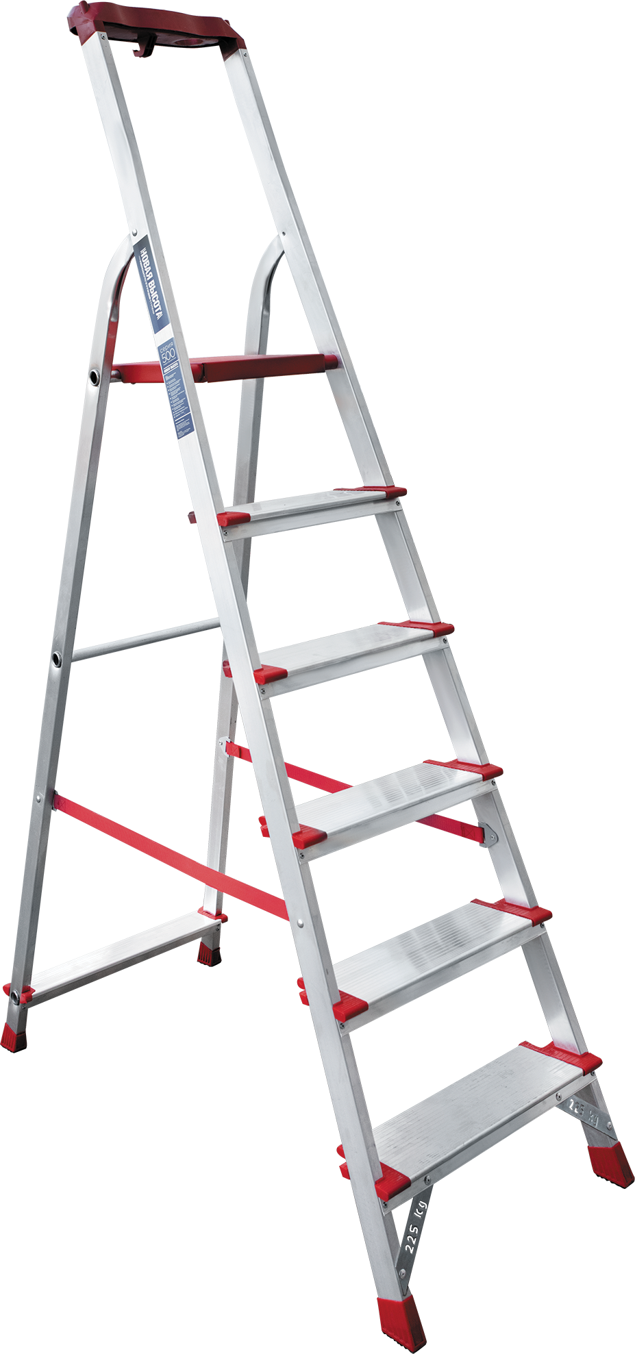 Aluminium stepladder for industrial use with the storage tray NV 5150