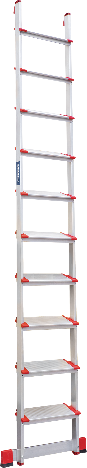 Single aluminium rung ladder with steps NV 5170